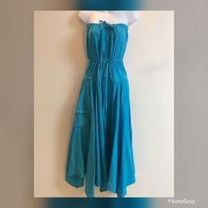 Vintage teal blue off shoulder dress